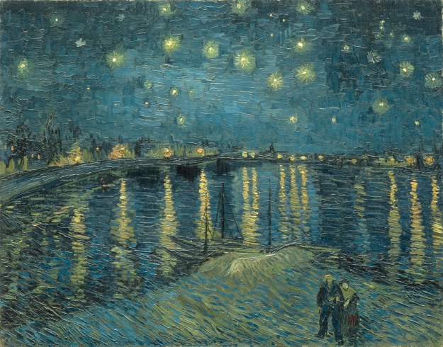 "© RMN-Grand Palais / Art Resource, NY 1. S0163724 ART147119 Gogh, Vincent van (1853-1890). Starry night over the Rhone River, 1888. Arles. Oil on canvas, 72.5 x 92 cm. RF1975-19. Photo: Hervé Lewandowski. Musée d'Orsay, Paris Shortly after completing Terrace of a Café at Night, which portrayed a corner of a night sky, Van Gogh realized his obsession of painting a color-driven, starry night. ""Next came this view of the Rhône in which he marvellously transcribed the colours he perceived in the dark,"" Musée d'Orsay curators write in their online description of Starry Night over the Rhône: ""Blues prevail: Prussian blue, ultramarine and cobalt. The city gas lights glimmer an intense orange and are reflected in the water. The stars sparkle like gemstones."""