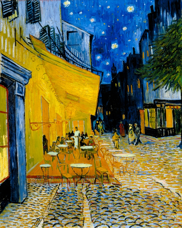 "Terrace of a Café at Night (Place du Forum) © Stichting Kröller-Müller Museum, Otterlo, The Netherlands Arles, France, circa September 16, 1888. Oil on canvas, 80.7 x 65.3 cm. ""On the terrace, there are little figures of people drinking. A huge yellow lantern lights the terrace, the façade, the pavement, and even projects light over the cobblestones of the street, which takes on a violet-pink tinge. The gables of the houses on a street that leads away under the blue sky studded with stars are dark blue or violet, with a green tree. Now there's a painting of night without black. With nothing but beautiful blue, violet and green, and in these surroundings the lighted square is coloured pale sulphur, lemon green."" From Van Gogh's September 1888 letter to his sister Willemien"