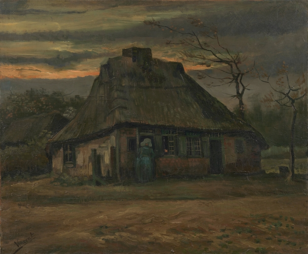 "The Cottage © The Van Gogh Museum, Amsterdam (Vincent van Gogh Foundation) Nuenen, May 1885. Oil on canvas, 65.7 cm x 79.3 cm. A recurrent theme throughout Van Gogh's work is that of cottages as ""human nests."" Hence, the Van Gogh Museum's online description of this painting: ""The cottage looks like a nest, built using whatever came to hand. … Light glows through the glass, creating a sense of warmth and safety."""