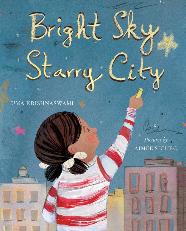 "Bright Sky, Starry City © 2015 by Uma Krishnaswami, illustrations © 2015 by Aimée Sicuro. Reproduced with permission of Groundwood Books Limited (http://groundwoodbooks.com) In ""Bright Sky, Starry City,"" author Uma Krishnaswami delivers both poetic children's fiction and a textbook of sorts, complete with a glossary, recommended readings, and an illustrated afterword that explains the solar system, planetary conjunctions, planetary rings, moons, telescopes, and light pollution."
