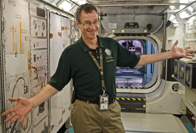 The #spacED education media group was in good hands with International Space Station mockup tour guide Kenneth Ransom.