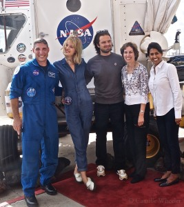 "From left, astronaut Michael Hopkins, actors Mackenzie Davis and Sebastian Stan, Johnson Space Center Director Ellen Ochoa, and International Space Station flight controller Pooja Jesrani get a red-carpet welcome before a special screening of ""The Martian."""
