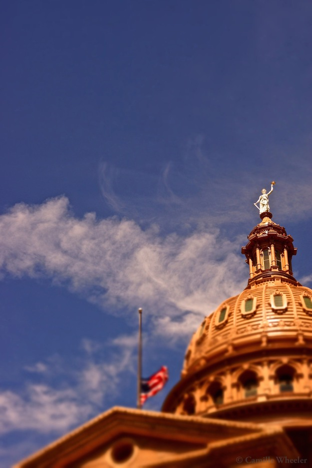 October 6, 2015: Twenty-nine years after she was lowered into place, this Goddess of Liberty replica still watches over Austin from her perch atop the Texas Capitol dome.