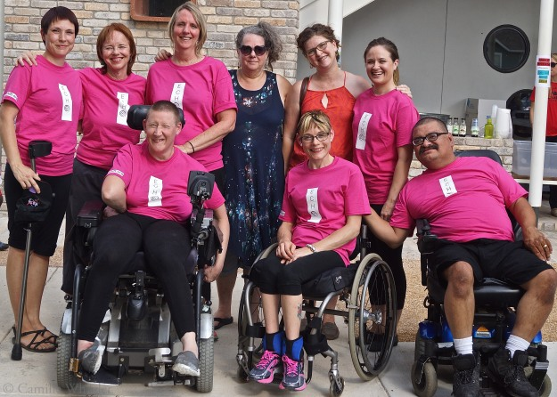 Back row, from left: choreographer Silva Laukkanen, Peggy Lamb, Donna Woods, VSA Texas Executive Director Celia Hughes, Forklift Danceworks xxxxxx Krissie Marty, and Ashley Card. Front row, from left: Susie Angel, Tanya Winters, and Juan Munoz.