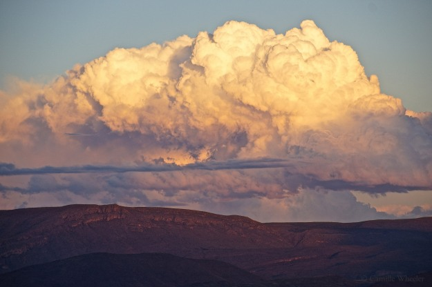 October 30, 2015: Clouds over the Sierra del Carmen Mountain range