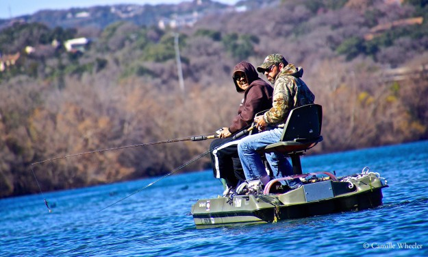 I've always wondered what kind of fish live in Lady Bird Lake. These two fishermen happily told me of one species: bass.